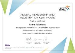 Laura Solomons UKCP Certificate